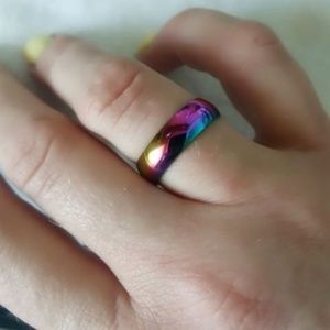 Jewelry - Rainbow Stainless Steel Ring Size 10